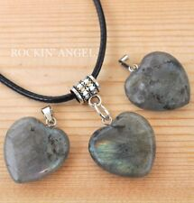 Raw Labradorite Heart Pendant Necklace Ladies Gift Reiki Healing Crystal Stone
