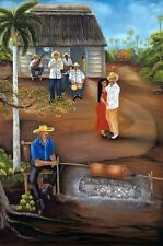 """Mother's Day Gift !!'"""" Guateque """" . Unique Cuban Oil Painting 30"""" x 24"""". CCR"""