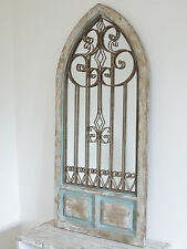 BEAUTIFUL RUSTIC WROUGHT IRON & WOODEN STYLE HOME OR GARDEN MIRROR  (4179)