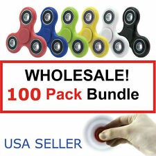 100 LOT HAND FINGER TRI FIDGET SPINNER STEEL TOY EDC GYRO FOR KID WHOLESALE