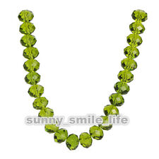 200Pcs Olive Green Crystal Glass Faceted Rondelle Beads 3x2mm Spacer Findings