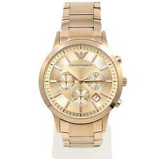 Emporio Armani AR2452 ROSE GOLD IP Chronograph SS Bracelet Mens Watch New AUTH