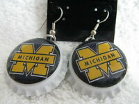 """1"""" Bottle Cap Image Earrings ~ Handcrafted ~ **Gift Idea ~ Wolverines"""