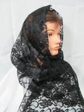 MANTILLA VEIL BLACK LACE HEAD COVERING MASS LATIN CHAPEL CHURCH CATHOLIC  13