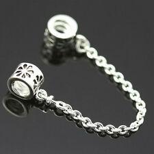 2PCSTop  Safety Chain Bead Charm Alloy Silver Chain Bead Fit Bracelet Jewelry PB