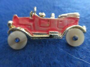 Vintage Gold Tone Old Car Enameled Pin or Brooch