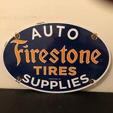 Vintage Porcelain Firestone Tires Auto Supplies Gas And Oil Sign