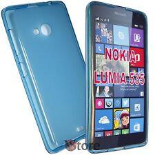 Cover Custodia Per Nokia Lumia 535 Azzurro Silicone Gel TPU Retro Opaco Gel TPU