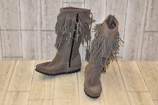 Minnetonka Hi Calf Fringe Boot-Women's Size 5 Grey Suede