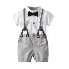 0dccc71ef Kid Baby Boy Christening Formal Top Shorts Outfit Suit Dungarees With Bow  Set