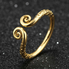 Pattern Monkey King Headband Yellow Gold GP Adjustable Finger Band Ring Gift
