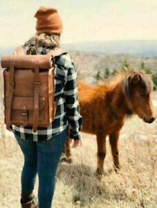 genuine leather backpack Real men's bag satchel laptop briefcase brown vintage