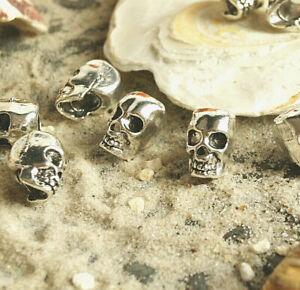 Perle Totenkopf Bartperle Loch 4 mm Metall Silber Dreadlock Anhänger Charm Skull