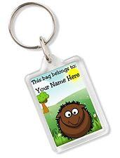 Personalised Kids Childs School Bag Tag Animal Keyring With Hedgehog AK81