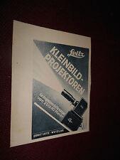 original Werbung Reklame Annonce Leitz Leica Projektor Wetzlar ca. 40er jahre