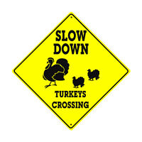 SLOW DOWN TURKEY Crossing Symbol Animal Xing Novelty Aluminum Metal Sign 12x12