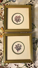 "Framed Vintage Botanical Art Print By Artist J. Tapping Double Matted 8""x8"""