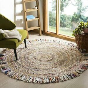 Rug Jute & Cotton Round Carpet Braided Style Hemp Carpet Modern Floor Living Rug