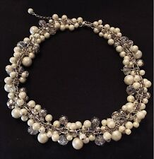VINTAGE JEWELRY - 1980s Faux Pearl Lucite Crystal Silver Tone Collar Necklace