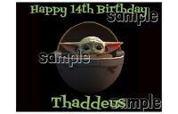 Baby Yoda Edible cake decoration topper sheet image Birthday Mandalorian