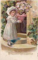 Girl bringing floral plant to door. Emb. Litho