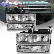 Chrome Headlights + Bumper Lamps for 94-98 Chevrolet Silverado Suburban C10 C/K