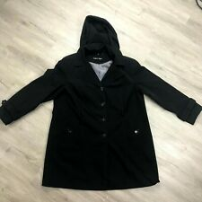 Calvin Klein Hooded Trench Coat Women 1X Black Button Up Lining Long Sleeve