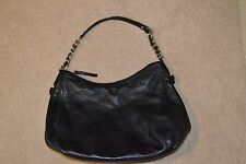 KATE SPADE BLACK LEATHER ZIPPER TOP PURSE HAND BAG PRE-OWNED FREE SHIPPING