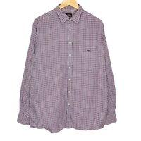 Rodd & Gunn Checkered Button Up Mens Long Sleeve Shirt Size Medium Maroon