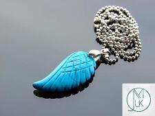 Blue Turquoise Manmade Gemstone Angel Wing Pendant Necklace