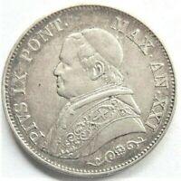 ITALY 1866 R PAPAL STATES PIUS IX AN XXI, silver 1 Lira grading EXTRA FINE.