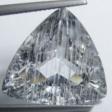 26.54Cts Firing Natural White Topaz WIth Rutile Trillion Loose Brazil Gemstone