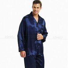 Mens Silk Satin Pajamas Pyjamas Set Sleepwear Loungewear M L XL XXL 4xl  Plus 6. Navy c58d91cf0