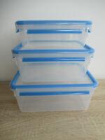 3 tlg. Kunststoff Frischhaltedosen Set, Klick- Deckel Gefrier Brot Dose Mikro
