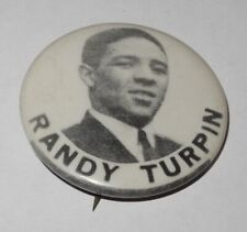 1940's Boxing Pin Button Coin Randy Turpin Middleweight World Champion Pinback