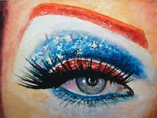 Watercolor Painting Woman Face MakeUp Eye Eyelashes American Flag ACEO Art