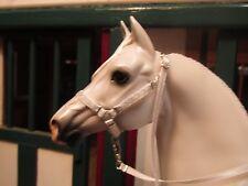 Jaapi Grey & White Chevron halter w/lead - fit Breyer traditional model horses