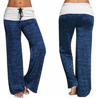 Women Casual Stretch Wide Leg Long Bohemian Loose Trousers Yoga Athletic Pants