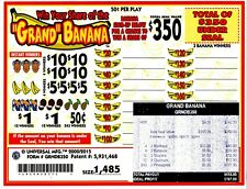 50c 1485ct 5W GRAND BANANA seal card Bingo Pull Tab Tip Board ($350)
