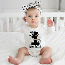 Newborn Infant Baby Girl Boy Happy New Years Bodysuit Romper Casual Clothes