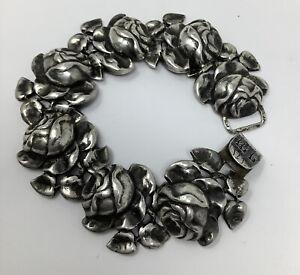 """Sterling Silver Detailed Rose Link Bracelet 7"""" (57.84g)"""