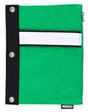 3 Ring Pencil Case Binder School Canvas Solid Blank Pouch Green