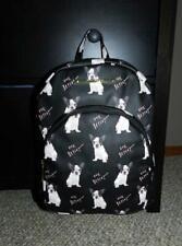 Betsey Johnson Black French Bulldog Dog Logo Faux Leather Backpack Bag
