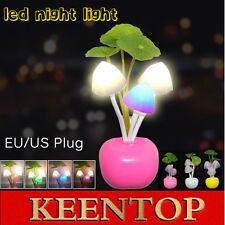 Romantic Colorful LED Mushroom Night Light Lamp Home Decor Bed Wall Lamp EU/US