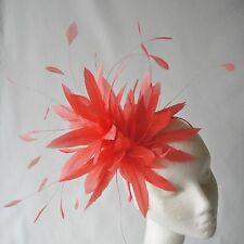 Coral Feather Fascinator for Weddings, Races and Proms