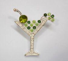 Vintage Martini Glass Brooch Pin Rhinestone Olive Green Silver Tone
