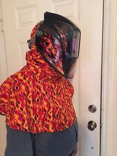 ~~~welding caps, hood yell orange flames--jean liner