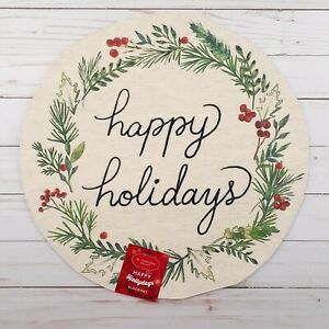 Placemat Centerpiece Happy Holidays Holly Berries 15 Inch Round