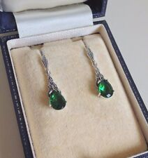 Sterling Silver Emerald and Marcasite Drop Earrings