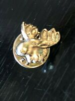 Vintage Collectible Moose Head Silver Tone Metal Pinback Lapel Pin Hat Pin